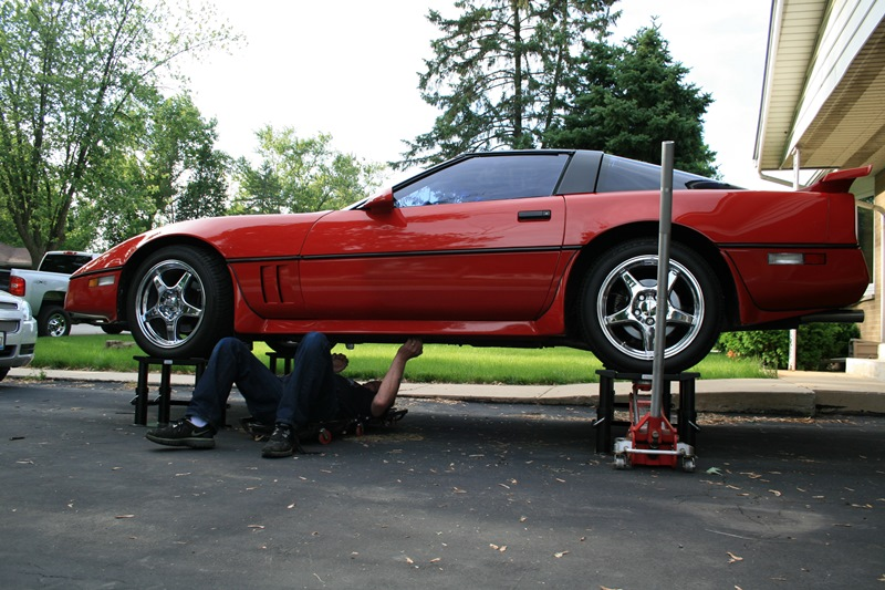 Side view of a Corvette on Lift Stands