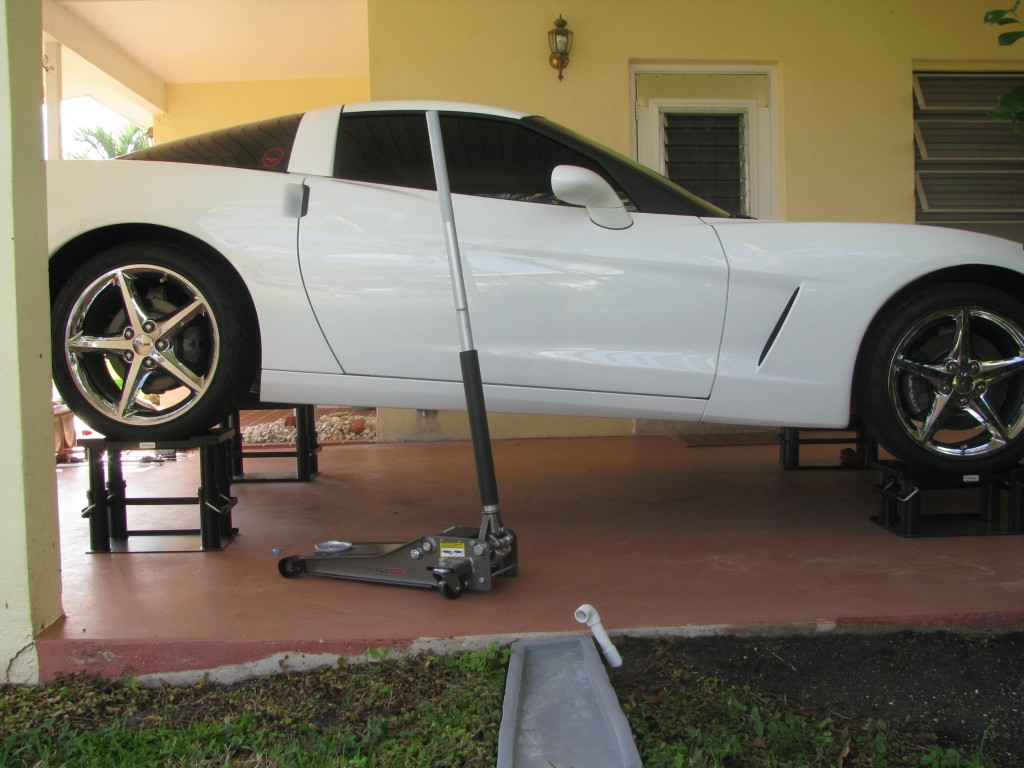 Corvette on home Lift Stands
